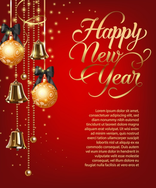Happy new year lettering with sample text and baubles Free Vector