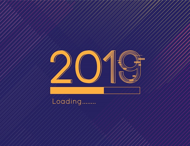 Happy new year loading progress 2019 distract font and gold dark background element Premium Vector