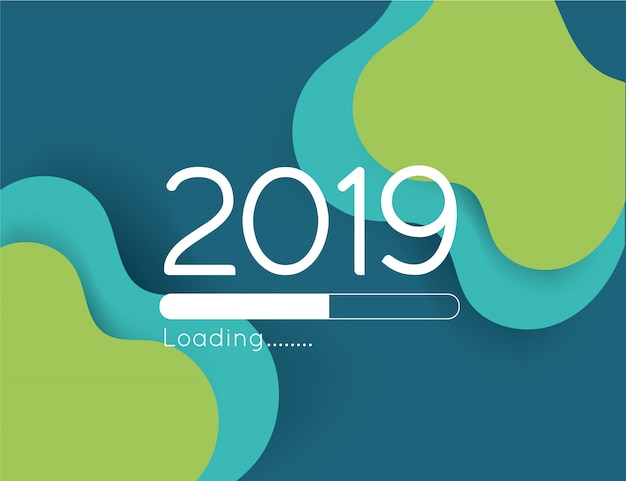Happy new year loading progress 2019 illustration abstract green wave paper cut bar Premium Vector