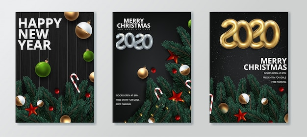 Happy new year and merry christmas greeting card set Premium Vector