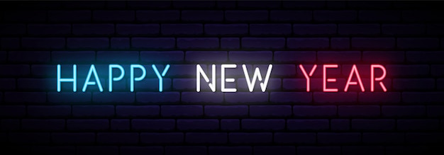 Happy new year neon banner. Premium Vector