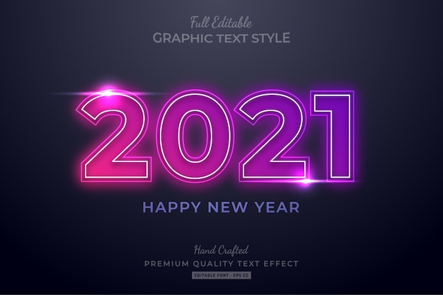 Happy new year neon editable text effect font style Premium Vector