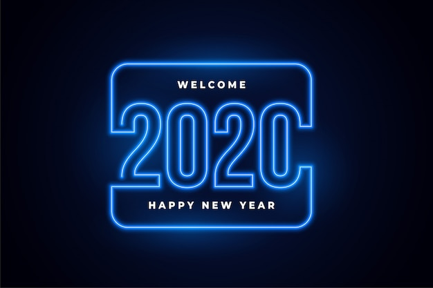 Happy new year neon lights glowing background Free Vector