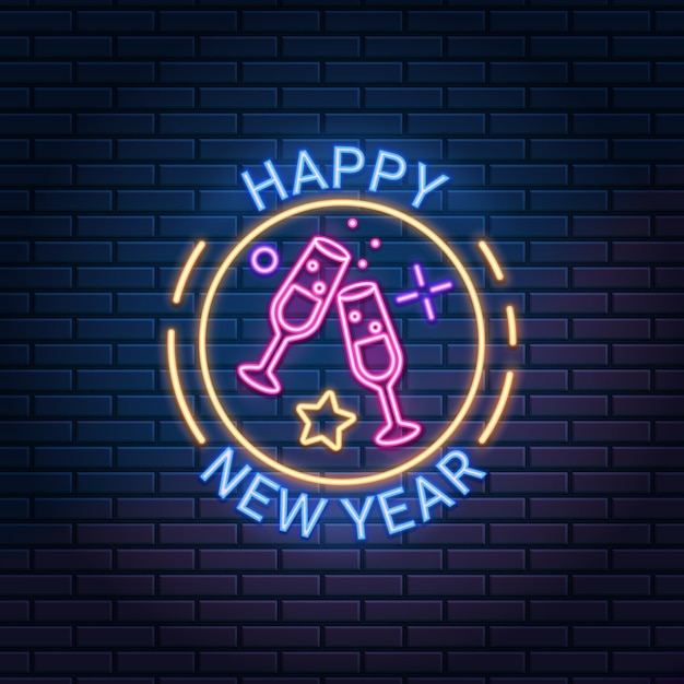 Happy new year neon sign against dark brick wall background. Premium Vector