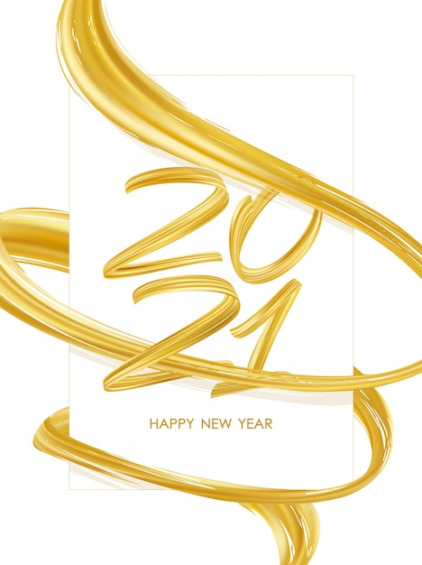 새해 복 많이 받으세요. 골드 컬러 추상 트위스트 페인트 스트로크 모양으로 2021 년 수. 트렌디 한 디자인 프리미엄 벡터