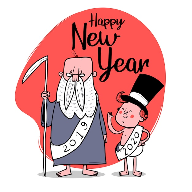 Happy new year. old year and new year characters. vector illustration Premium Vector