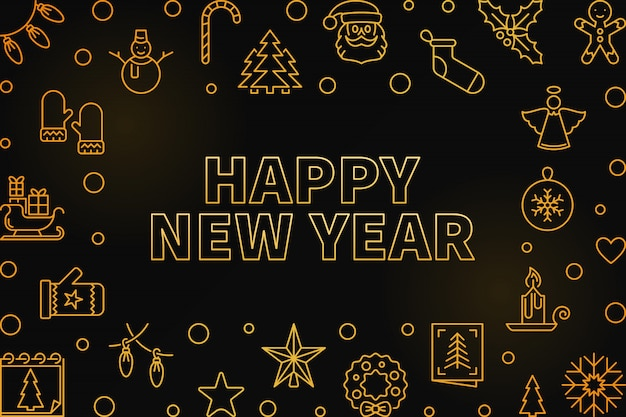 Happy new year outline golden horizontal frame Premium Vector