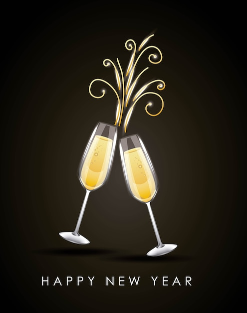 Happy new year pair of champagne glass cheers drink ...