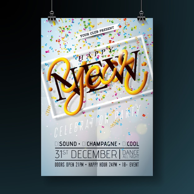 Happy New Year Party Celebration Flyer Template Illustration With