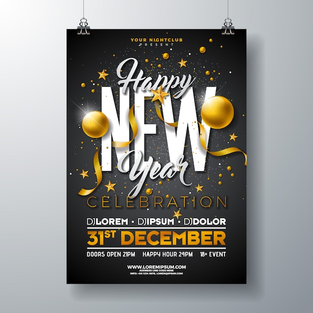 Happy new year party celebration poster template Premium Vector