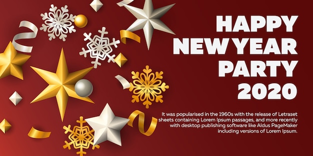 Happy new year party invitation card Vector | Free Download