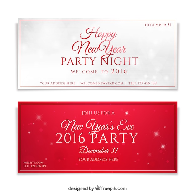 happy new year party invitations premium vector