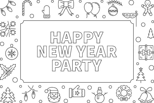 Happy new year party векторный контур горизонтальной рамки Premium векторы
