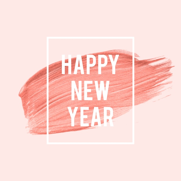 Happy new year pink brush stroke Free Vector
