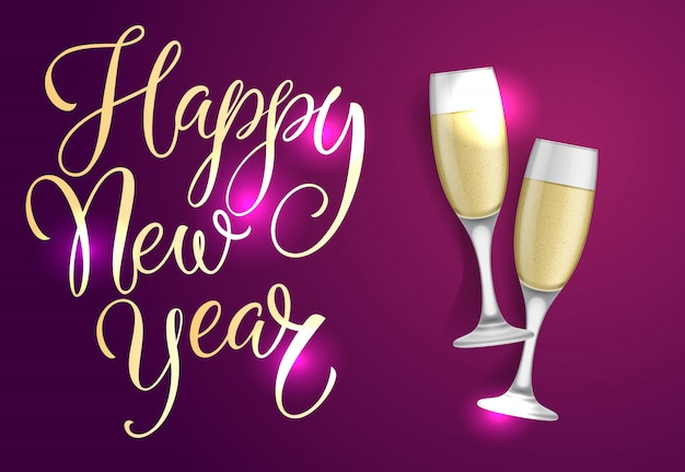 Happy new year postcard design. two champagne flutes Free Vector