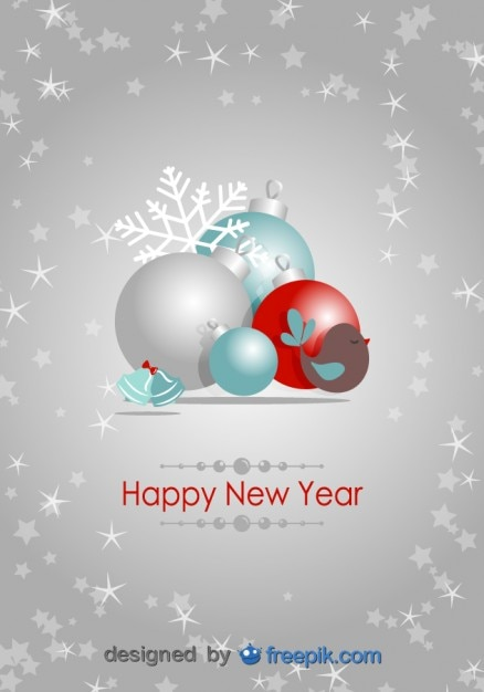 Happy New Year Postcard Vector | Free Download
