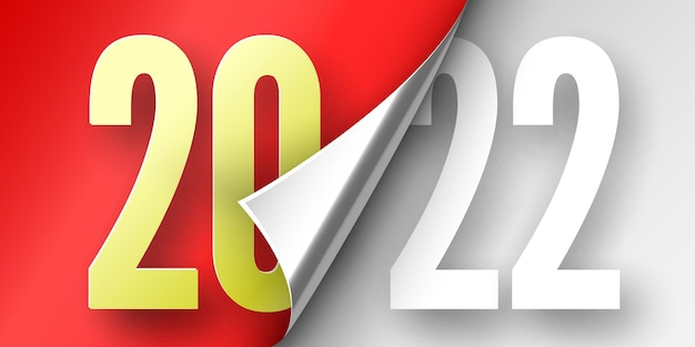 Happy new year poster. red ribbon with curved edge on white . sticker. Premium Vector
