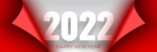 Happy new year poster. red ribbon with curved edges on white . sticker. Premium Vector