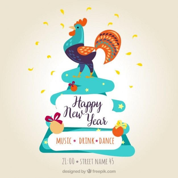 Happy new year poster with a colorful rooster Vector | Free Download