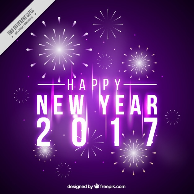 Happy new year, purple background with\ fireworks