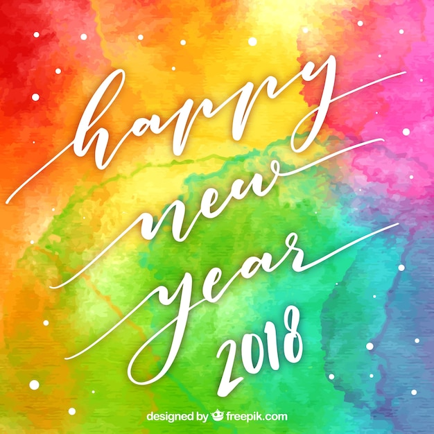 Happy new year rainbow watercolour background Free Vector