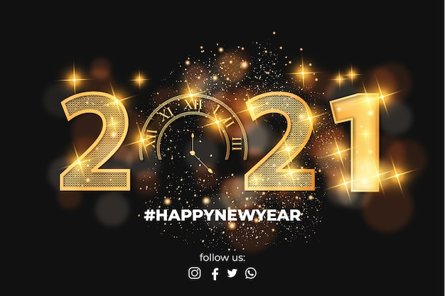 Happy new year realistic golden 2021 text effect with bokeh Free Vector
