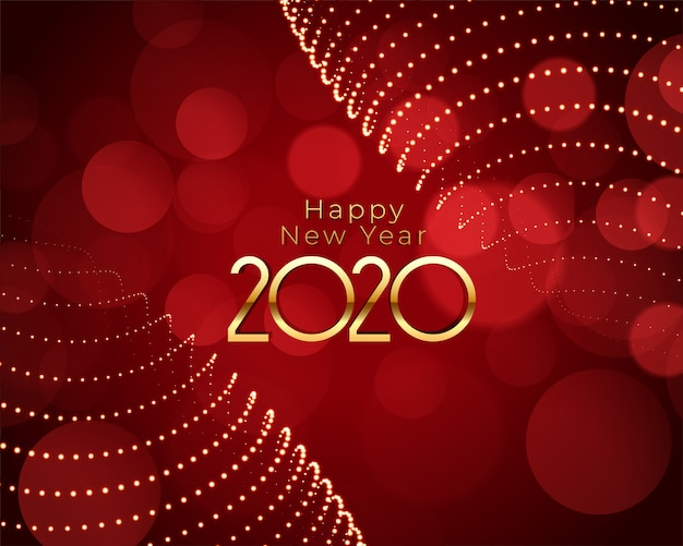 Happy new year red and gold beautiful background Free Vector