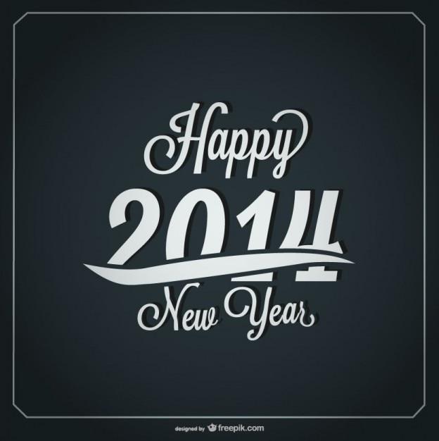 Happy New Year Retro Card Design Vector Free Download