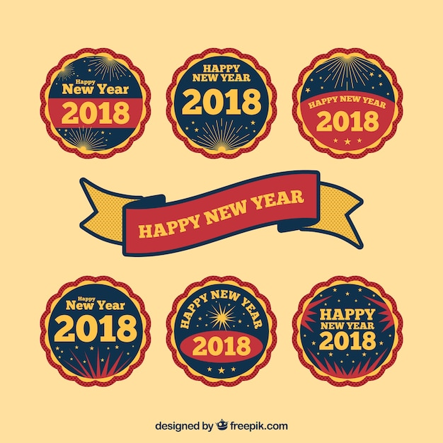 Happy new year round stickers free vector
