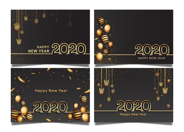 С новым годом набор шаблонов Premium векторы