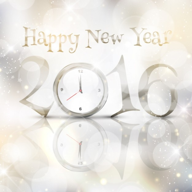 happy new year silver bokeh background with clock free vector