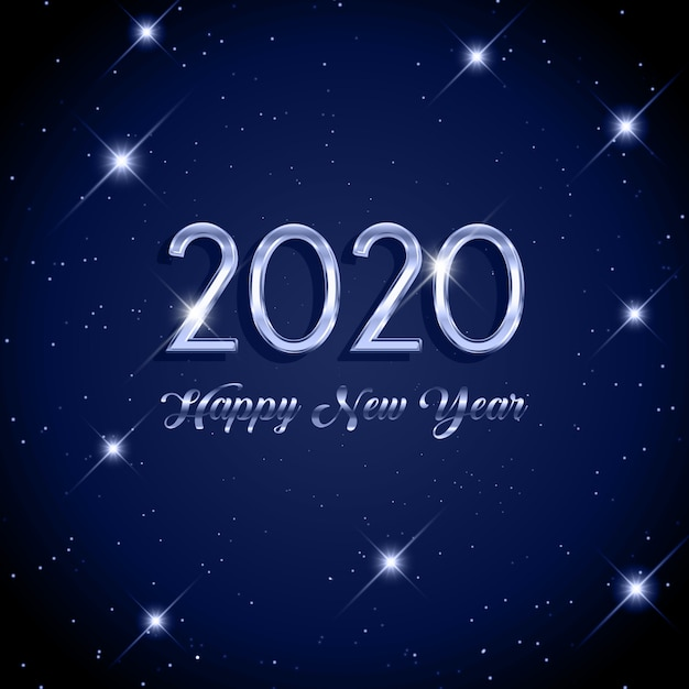 Happy new year starry background Free Vector