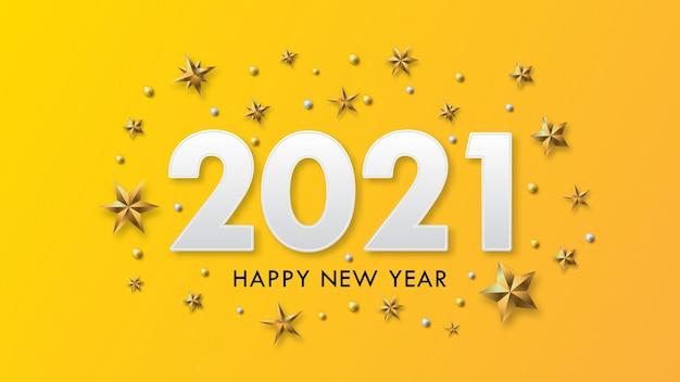 黄色の背景に金のビートと星と新年あけましておめでとうございますのテキストデザイン。 Premiumベクター