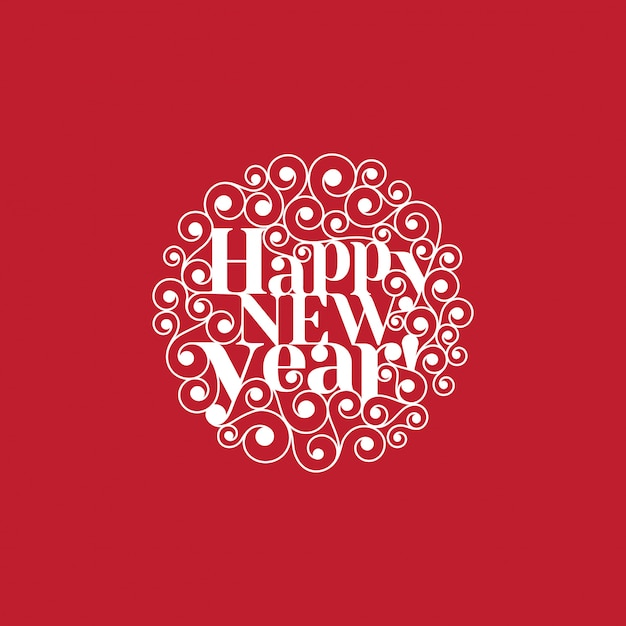 Happy new year text lettering circle shape card template Free Vector