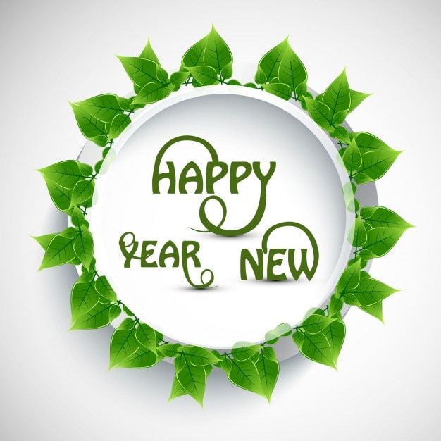 happy new year text with green leaves free vector
