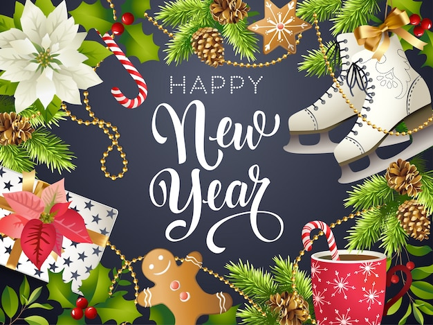 happy new year theme premium vector