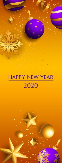 Happy new year two thousand twenty lettering, snowflakes Free Vector