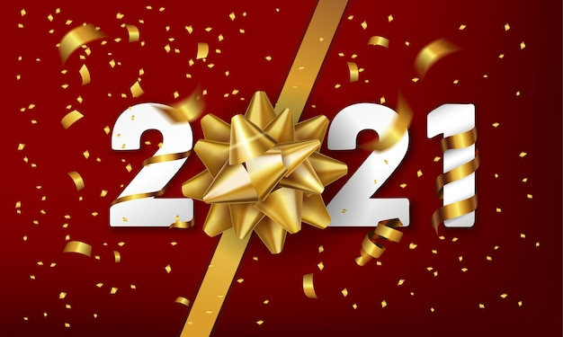 Happy new year vector background with golden gift bow and confetti. Premium Vector