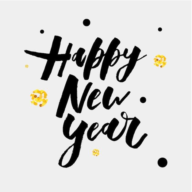 Happy new year vector gradient phrase lettering calligraphy sticker gold Premium Vector