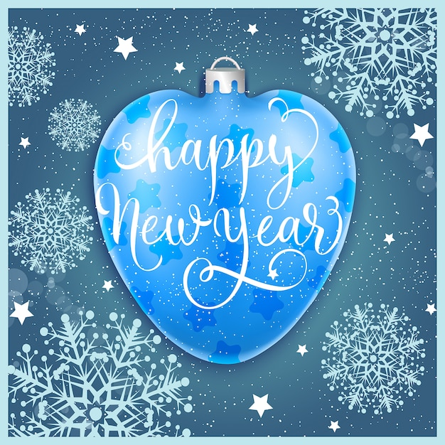 Happy New Year with bauble and\ snowflakes