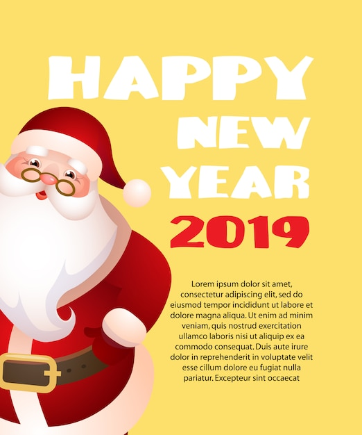 Happy new year with cartoon santa claus yellow banner design Free Vector