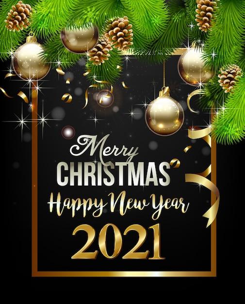С новым годом с рождественскими украшениями Premium векторы