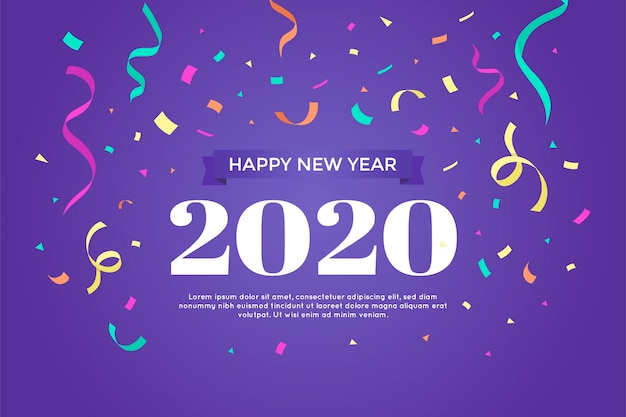 Happy new year with colourful confetti Free Vector