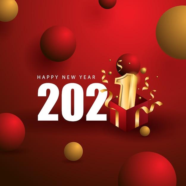 새 해 복 많이 받으세요 선물 개념 및 붉은 색 프리미엄 벡터