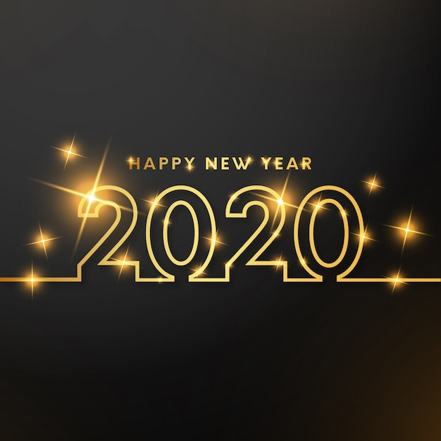 Happy new year  with gold lines Free Vector