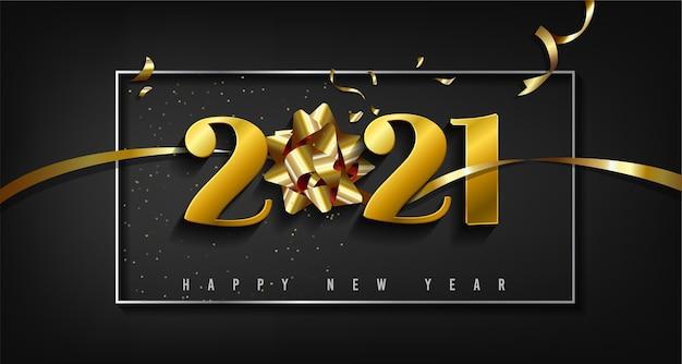 С новым годом с золотыми цифрами и золотой лентой Premium векторы
