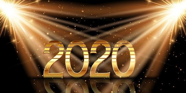 스포트 라이트 아래 금 숫자와 함께 새해 복 많이 받으세요 무료 벡터