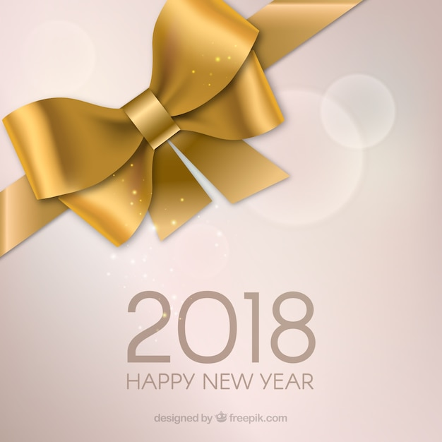 Happy new year with golden gift bow Free Vector