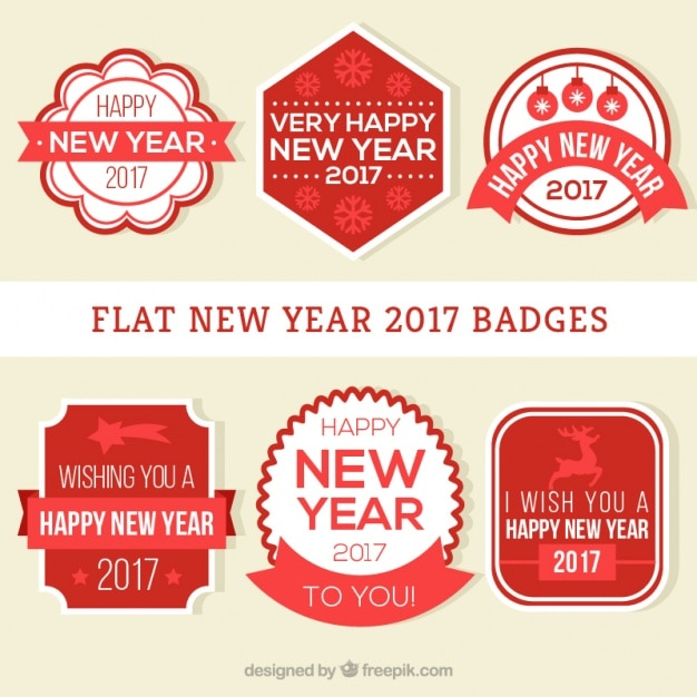 happy new year with great red labels free vector