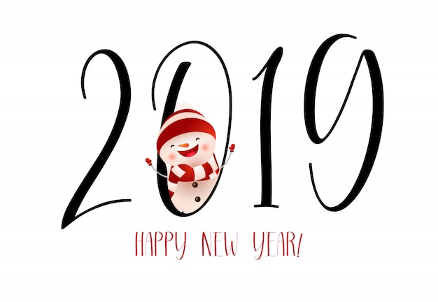 Happy New Year with laughing snowman banner design Free Vector